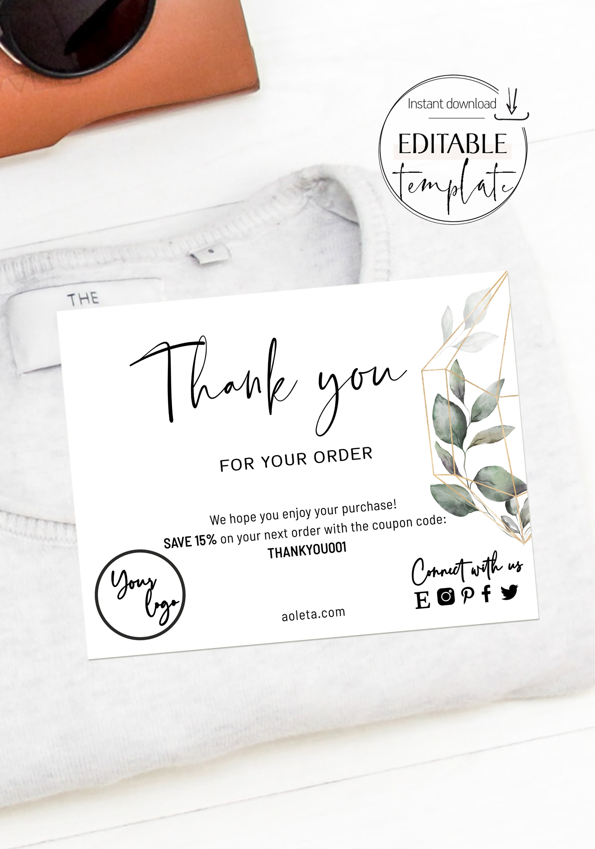 Business Thank You Insert Сard Template, Business Thank You Card ...